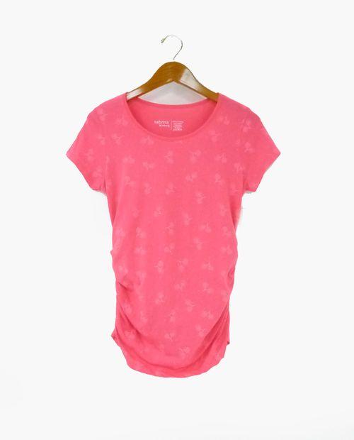 Camiseta c/redondo print flores rosada