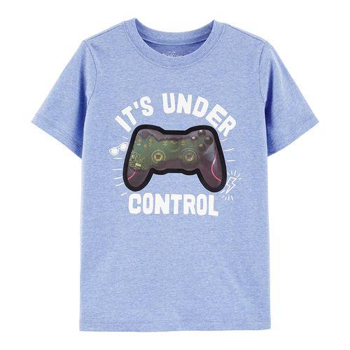 """Camisa m/c celeste con estampado de video juego """"it's under control"""""""