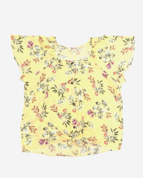 Blusa  amarilla (golden haze) estampada mc con nudo
