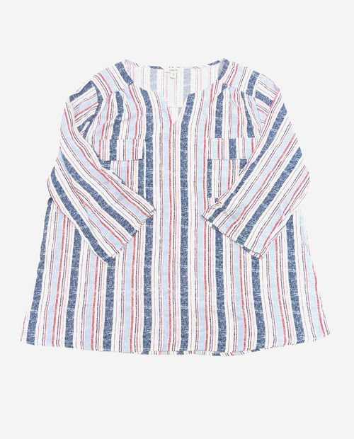 Blusa  azul estampada (serenity & bright white) roll up tunica