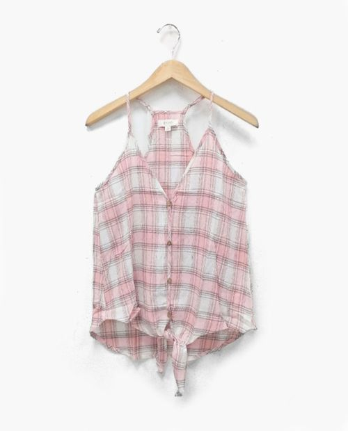 Blusa blush pink cuadriculada de tirantes with tie front (be cool)