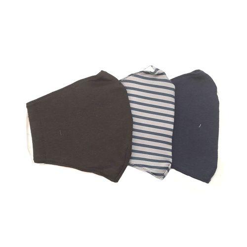 3 pack mascarillas solido negro solido navy rayas
