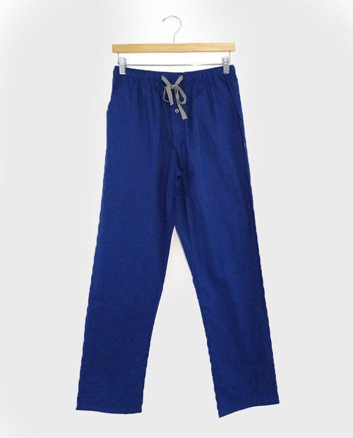 Pijama caballero pantalon de tela azul con cuadros