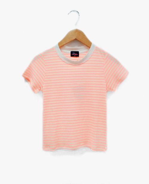 Blusa  de rayas coral-blanco