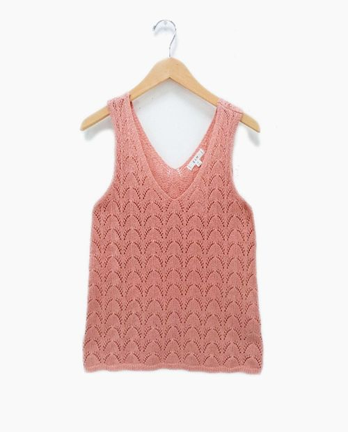 Blusa  dusty rose  de crochet