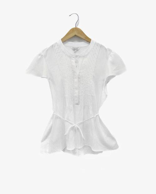 Blusa 1/2 placket laza waist blanco