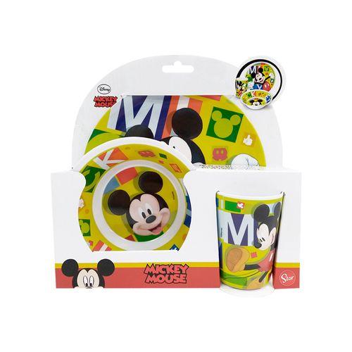 Set de melamina mickey 3 piezas