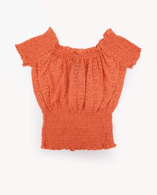 Blusa   anaranjado solida   eyelet mock en cintura manga corta (daniel)
