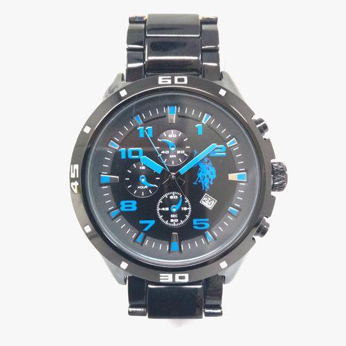 Reloj analogo metalico azul c/negro para caballero