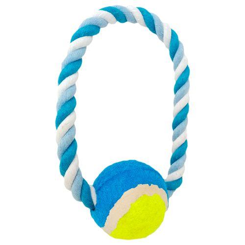 Juguete de pita pelota tennis azul mediano