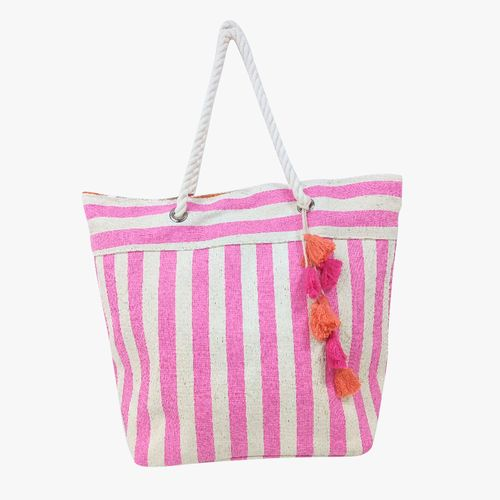 Cartera  de playa color fuscia tote