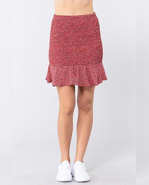 Falda con smocked ruffle color rojo