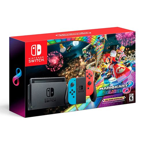 Nintendo switch neon blue & red joy + Mario Kart 8 deluxe