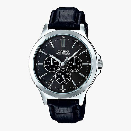 Reloj analogo cuero negro caballero
