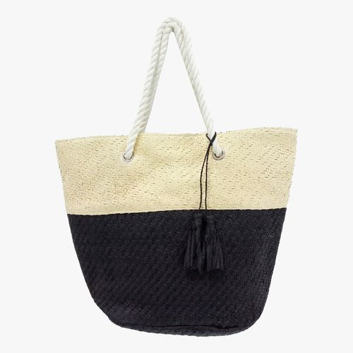 Cartera  de playa color negro/natural tote