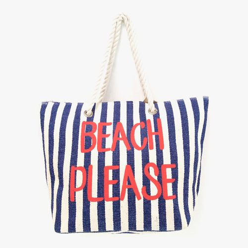 Cartera  de playa color navy/rojo tote