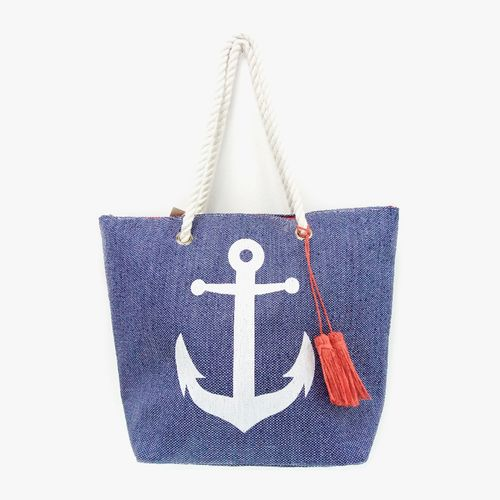 Cartera  de playa color azul tote