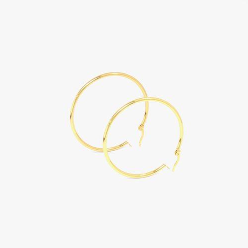 Aretes redondos de 50 milimetros enchapados en oro para dama