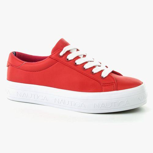 Calzado casual nautica tipo sneaker color rojo con cintas para dama