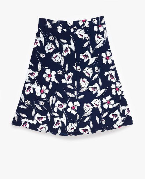 Falda a flores blanco/rosa en navy