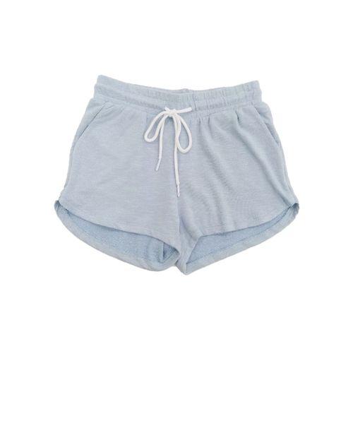 Short blu-misty blue con nudo adelante  slub terry