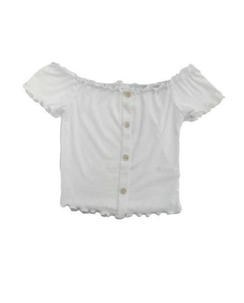 Blusa knit off shoulder crop  off blanco