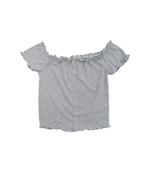 Blusa knit off shoulder crop  h.gris