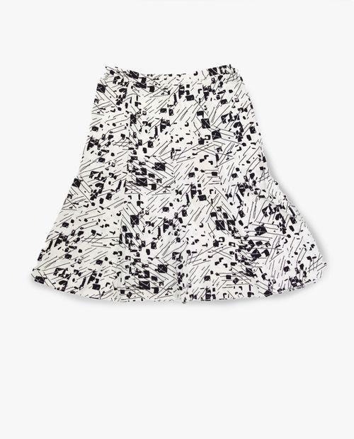 Falda cuchillas estampada blanco/negro