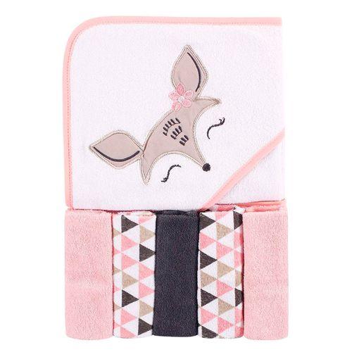Toalla blanca con bambie y 5 toallitas pequeñas