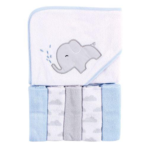 Toalla blanca con elefantey 5 toallitas pequeñas