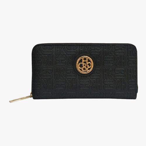 Billetera black zip around para dama