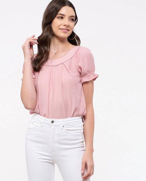 Blusa  dusty   solida con manga corta fb