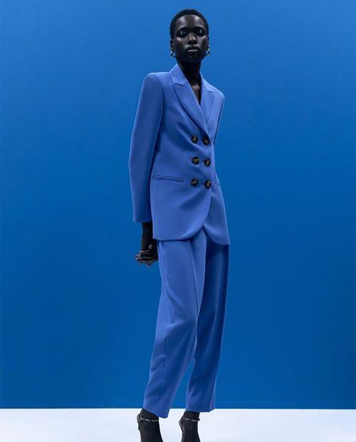 Pantalon traje color azul royal