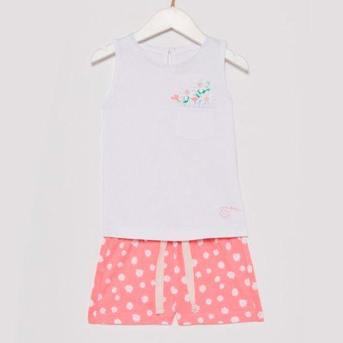 Pijama de blusa sin manga con short blanca con estampado de margaritas de niña