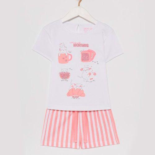Pijama de blusa manga corta con short blanca estampada de niña