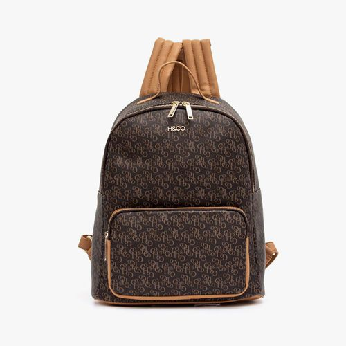 Cartera backpack h&co color cafe para dama
