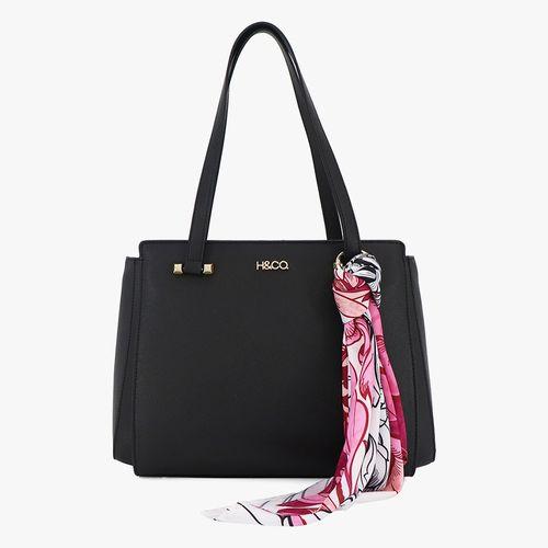 Cartera satchel h&co color negro para dama