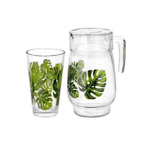 Set 4 vasos c/pichel estampado hojas