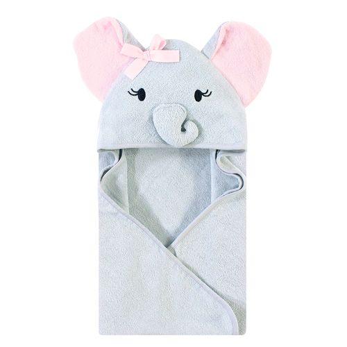 Toalla capucha elefante gris con rosado organica