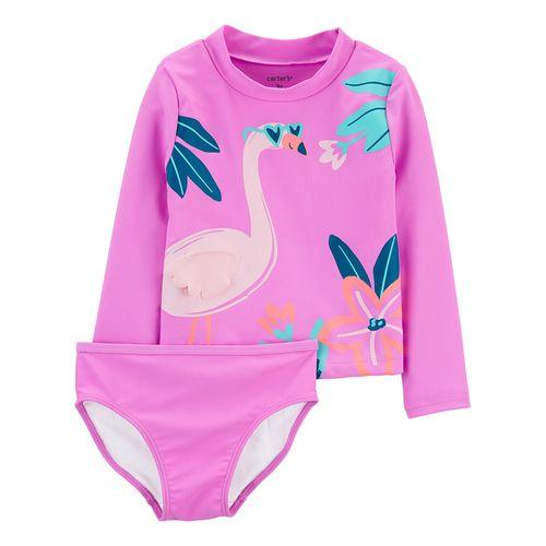 Traje de baño dos piezas rosa flamingo