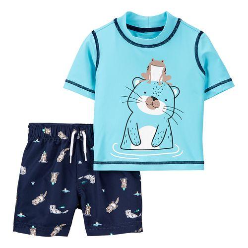 Traje de baño niño dos piezas osito rana y short azul navy