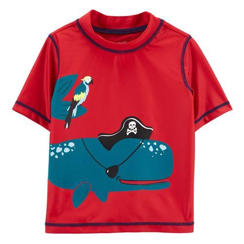 Camisa para baño roja ballena niño