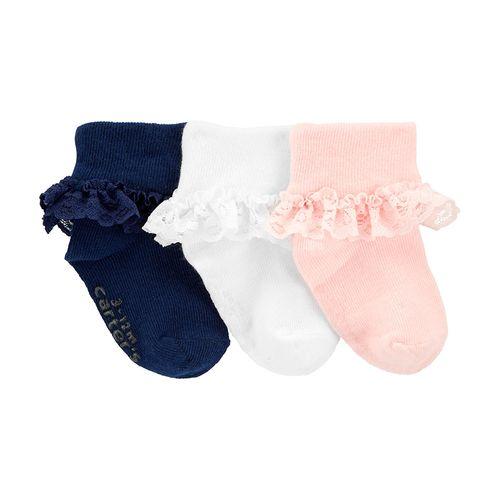 3 pack calcetines niña con revuelito