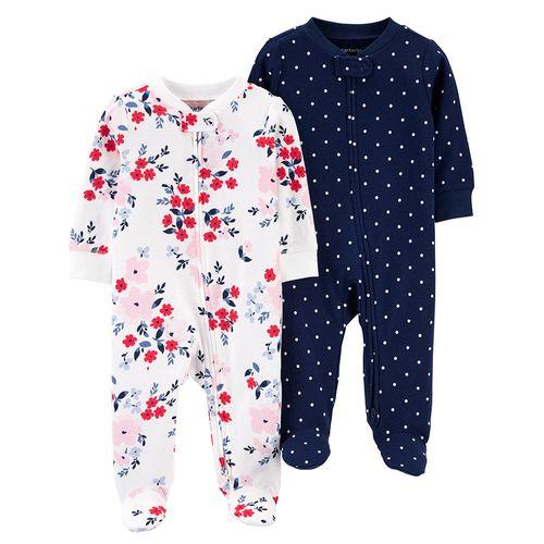2 pack pijama de piecitos flores y puntos niña
