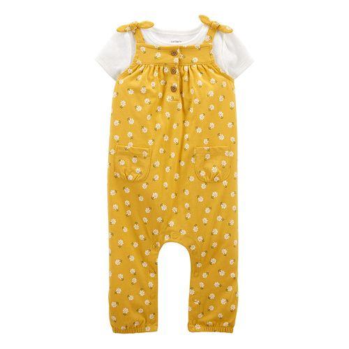 2 piezas overall amarillo y camisa blanca