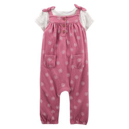 2 piezas overall rosa y camisa blanca