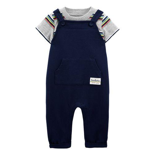 2 piezas overall niño azul y camisa gris