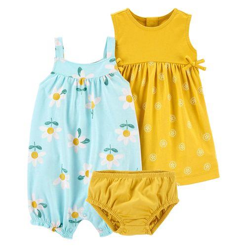 2 pack romper y vestido amarillo y verde flores