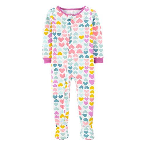 Pijama con piecitos niña corazones