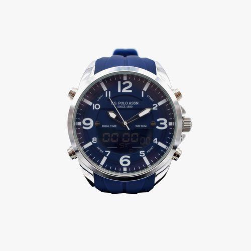 Reloj analogo digital con correa de caucho azul para caballero